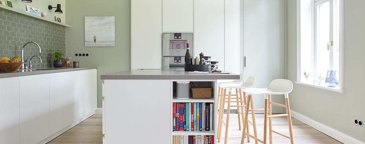 Grüntöne in der Küche sorgen für Vitalität und Frische.